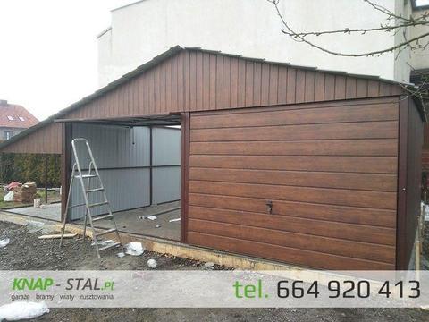 Garaż blaszany 6x6 podwójny drewnopodobny garaże wiaty hale
