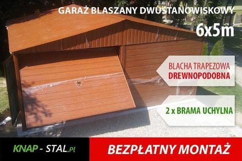 Garaż blaszany podwójny 6x5 drewnopodobny MOCNA KONSTRUKCJA z profili