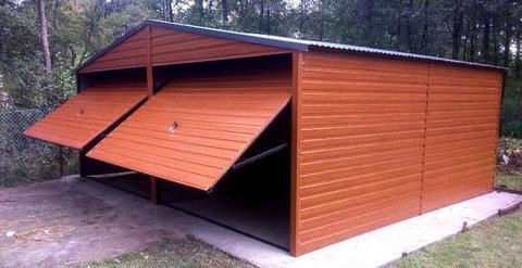 Garaże blaszane 6x6, 6x5 wiaty drewnopodobne podwójny hala raty
