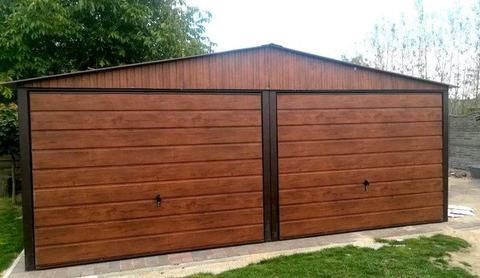 6x6 Garaż blaszany dwuspadowy struktura drewna podwójny