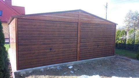 Garaże blaszane podwójny drewnopodobny tanie hale wiaty