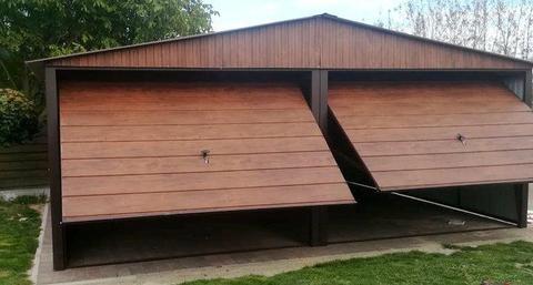 Garaż 6x5 panel poziomy struktura drewna, drewnopodobny raty podwójny