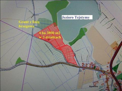 Biesowo, działka z linia brzegową 200m